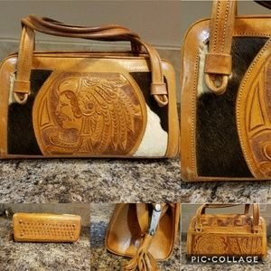Awesome vintage tooled leather and fur aztec purse
